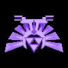 hyrule-crest-flatback-w-stand-holes.stl Télécharger fichier STL gratuit Zelda Hyrule Crest - Mors de pied sur pied - Impression à plat • Plan pour imprimante 3D, Reshea